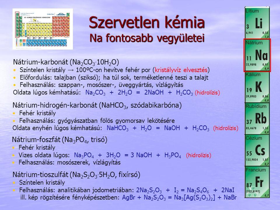 Szervetlen kémia Na fontosabb vegyületei