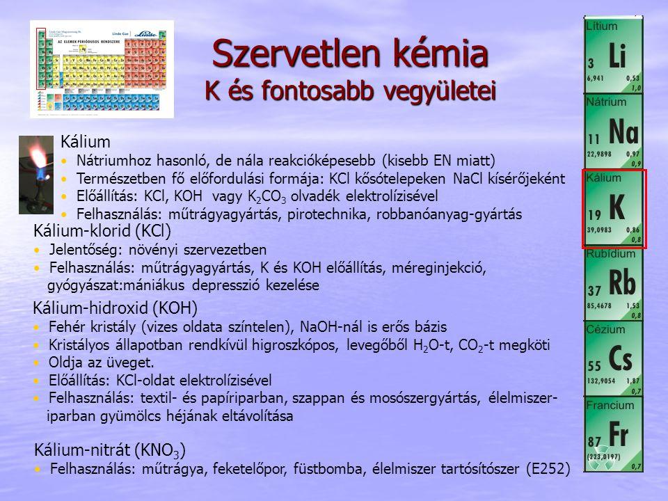 Szervetlen kémia K és fontosabb vegyületei
