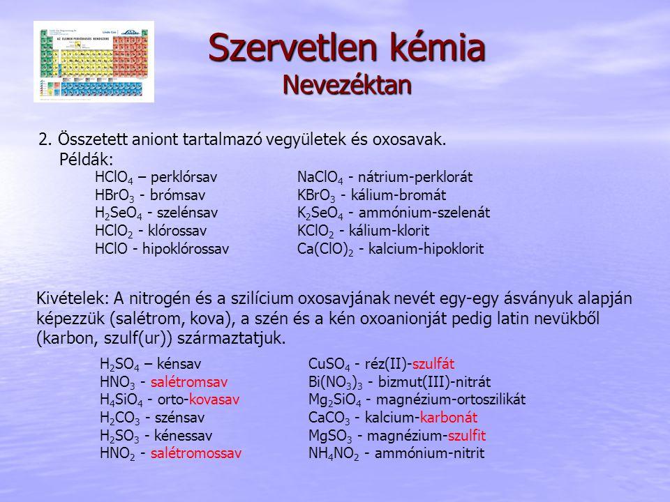 Szervetlen kémia Nevezéktan