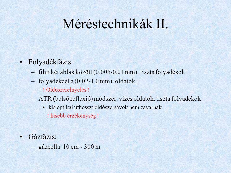 Méréstechnikák II. Folyadékfázis Gázfázis: