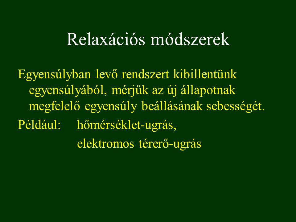 Relaxációs módszerek Egyensúlyban levő rendszert kibillentünk egyensúlyából, mérjük az új állapotnak megfelelő egyensúly beállásának sebességét.