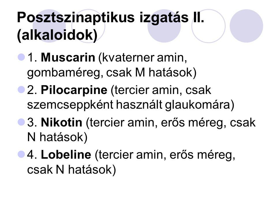 Posztszinaptikus izgatás II. (alkaloidok)