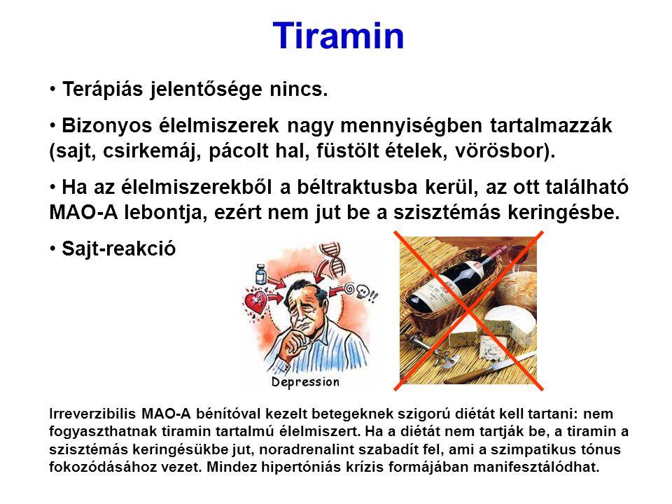 Tiramin Terápiás jelentősége nincs.
