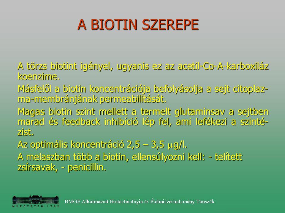 A BIOTIN SZEREPE A törzs biotint igényel, ugyanis ez az acetil-Co-A-karboxiláz koenzime.