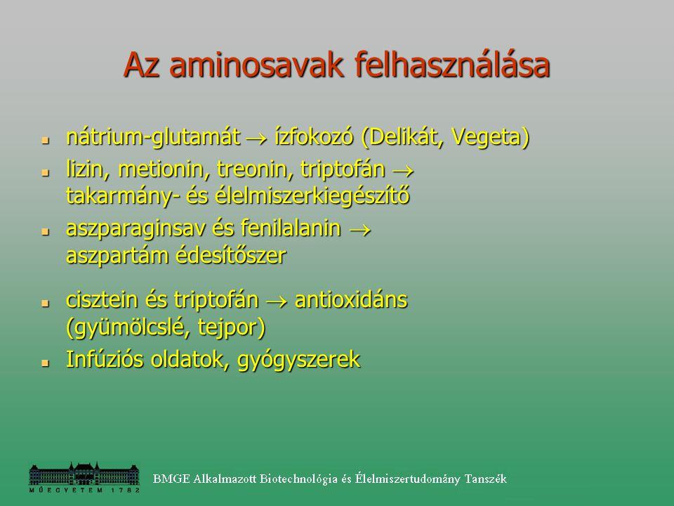Az aminosavak felhasználása