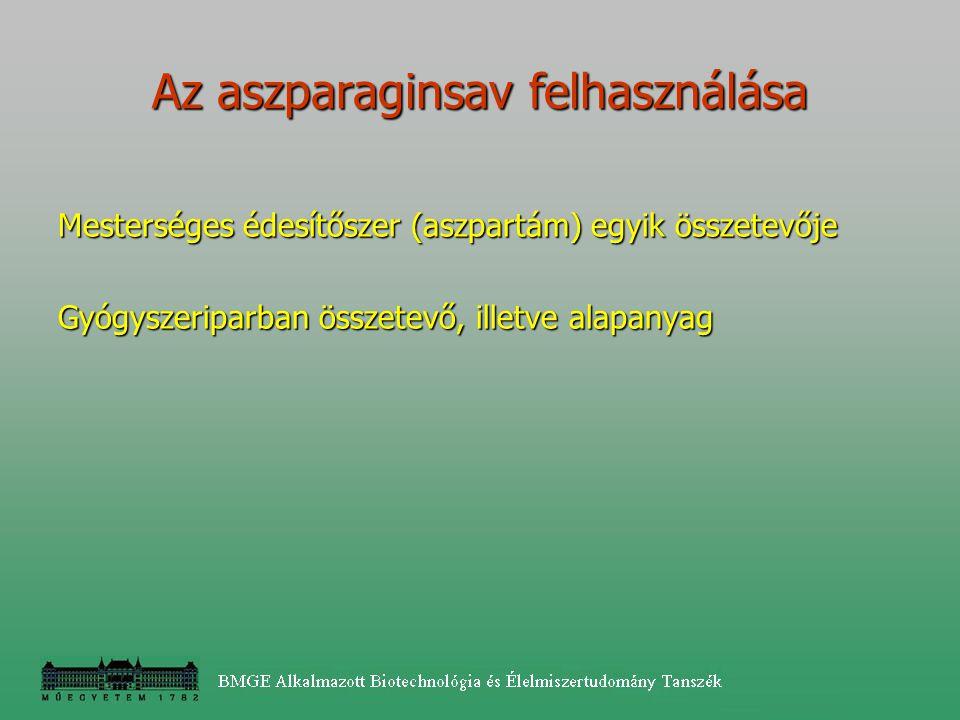 Az aszparaginsav felhasználása