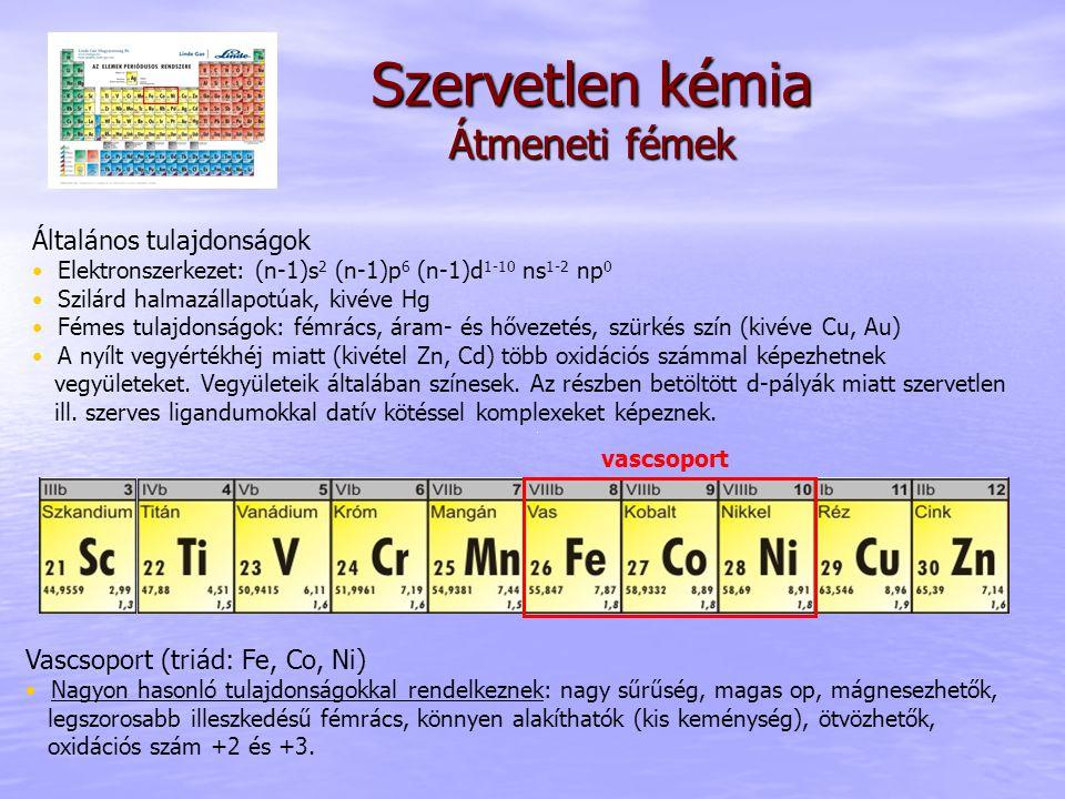 Szervetlen kémia Átmeneti fémek