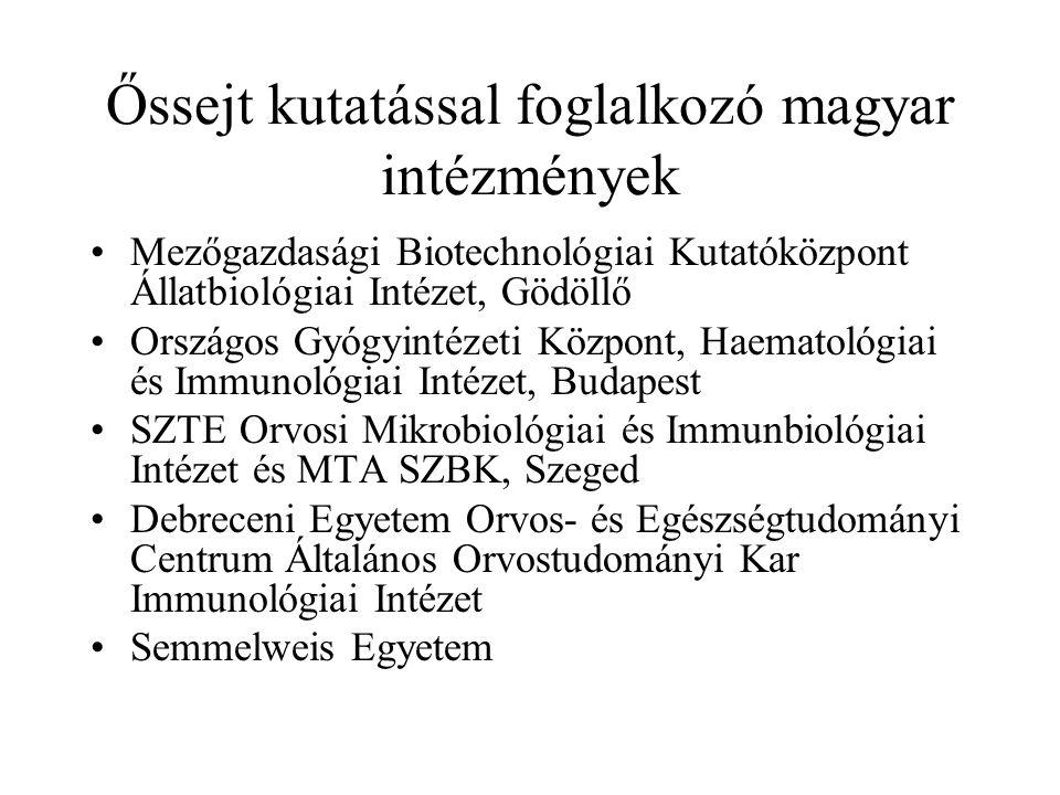 Őssejt kutatással foglalkozó magyar intézmények