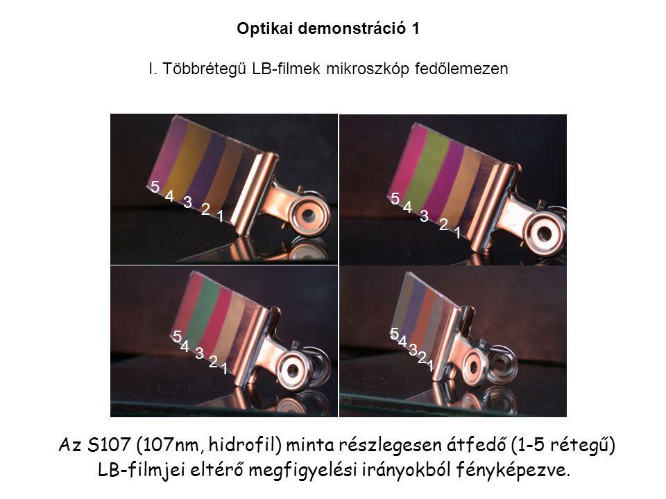 LB-filmjei eltérő megfigyelési irányokból fényképezve.