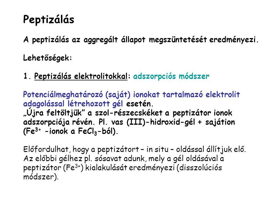 Peptizálás A peptizálás az aggregált állapot megszüntetését eredményezi. Lehetőségek: 1. Peptizálás elektrolitokkal: adszorpciós módszer.