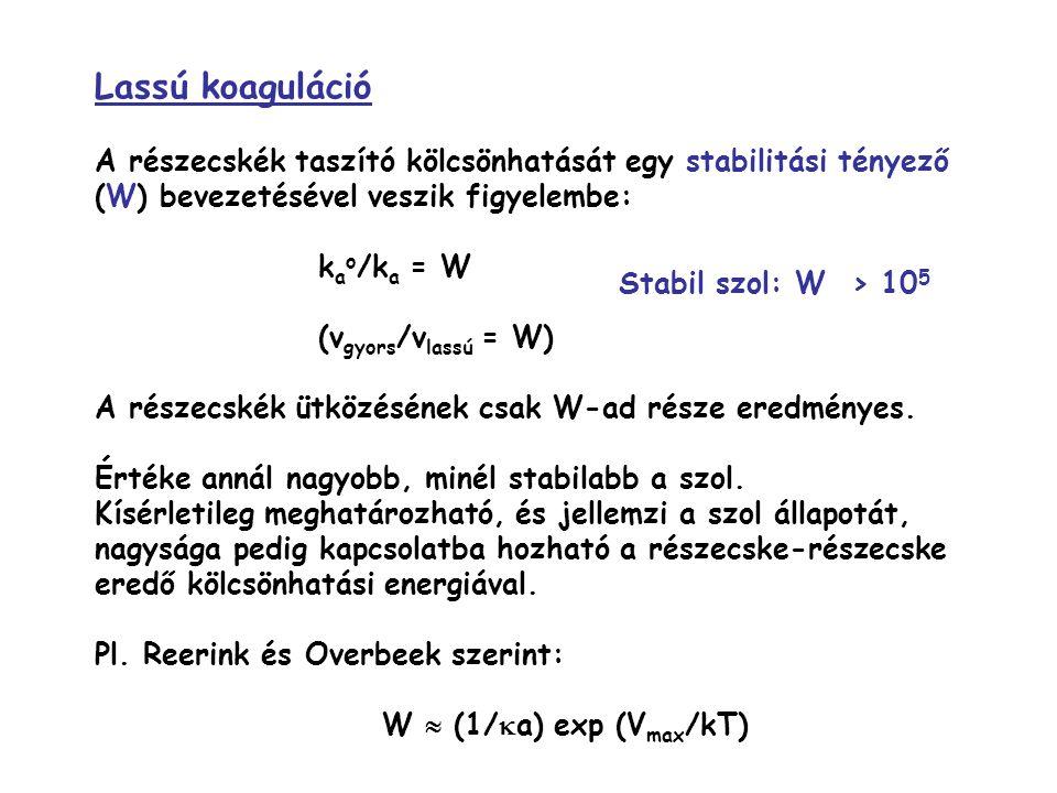 Lassú koaguláció A részecskék taszító kölcsönhatását egy stabilitási tényező (W) bevezetésével veszik figyelembe: