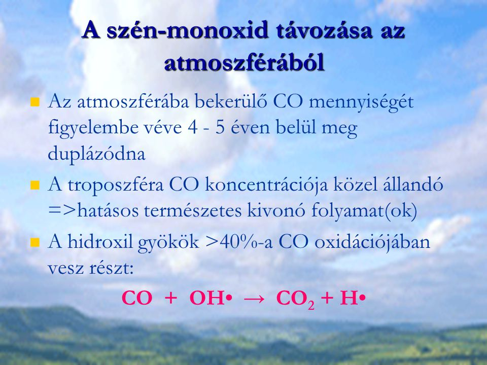 A szén-monoxid távozása az atmoszférából