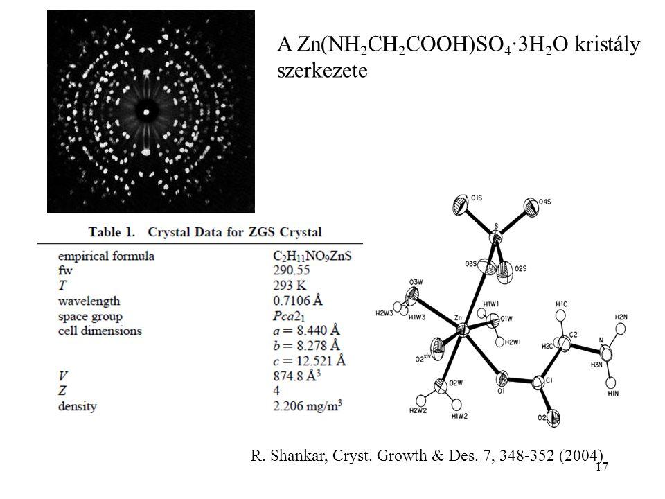 A Zn(NH2CH2COOH)SO4∙3H2O kristály szerkezete
