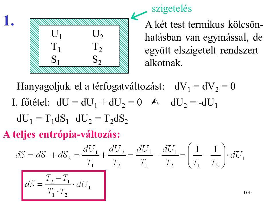 szigetelés 1. A két test termikus kölcsön-hatásban van egymással, de együtt elszigetelt rendszert alkotnak.