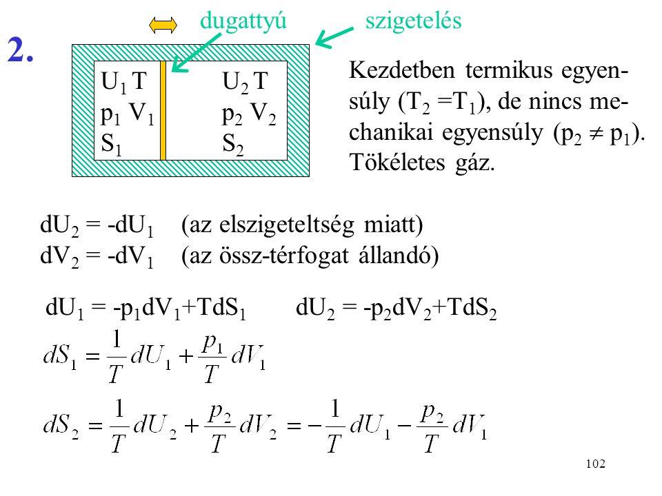 dugattyú szigetelés. 2. Kezdetben termikus egyen-súly (T2 =T1), de nincs me-chanikai egyensúly (p2  p1). Tökéletes gáz.