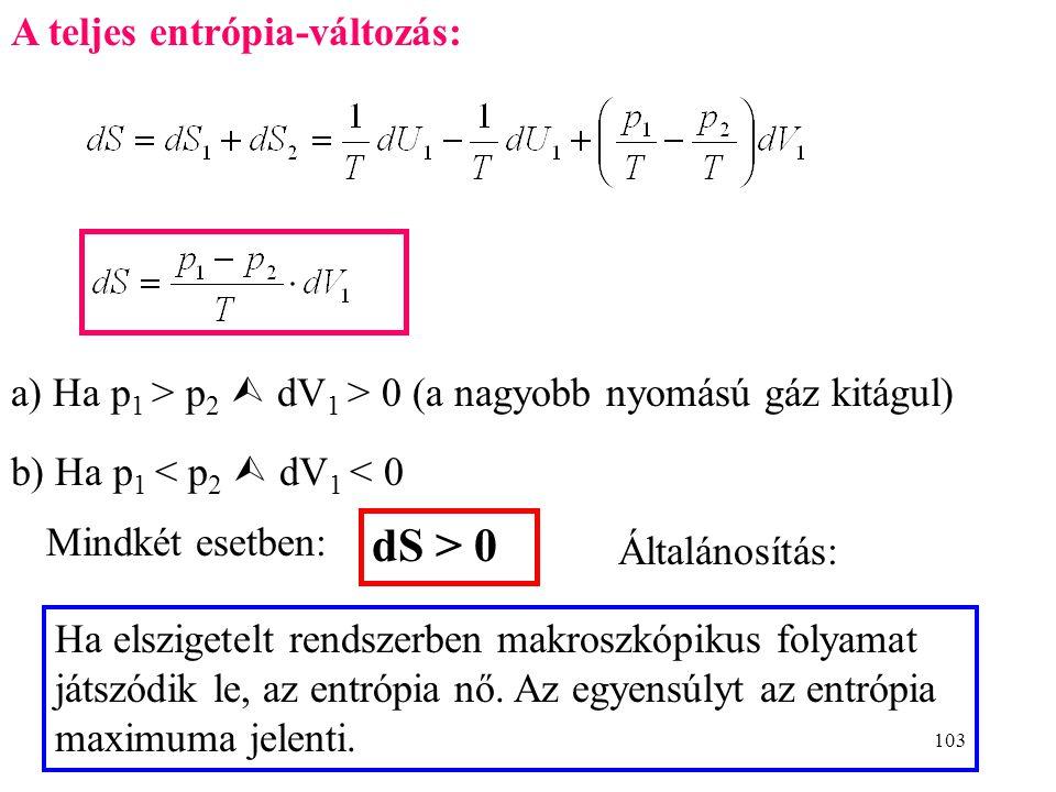 dS > 0 A teljes entrópia-változás: