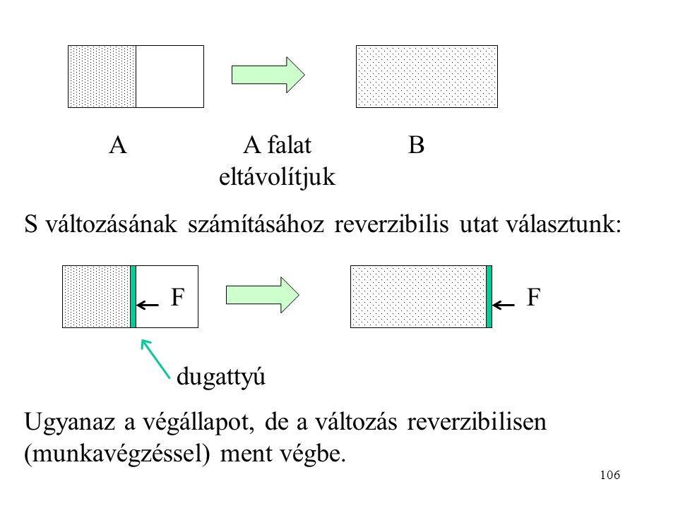 A falat eltávolítjuk A. B. S változásának számításához reverzibilis utat választunk: F. dugattyú.