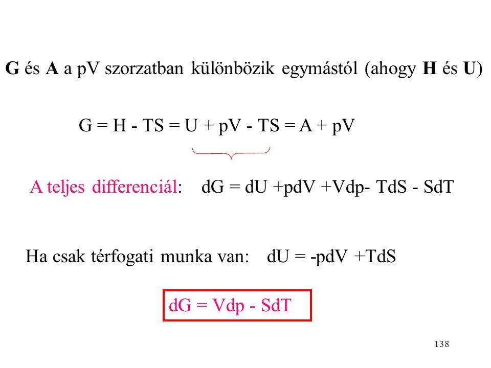 G és A a pV szorzatban különbözik egymástól (ahogy H és U)