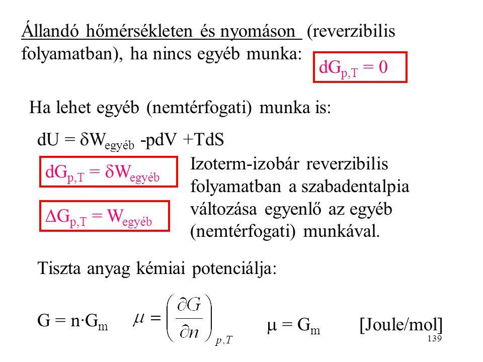 Állandó hőmérsékleten és nyomáson (reverzibilis folyamatban), ha nincs egyéb munka: