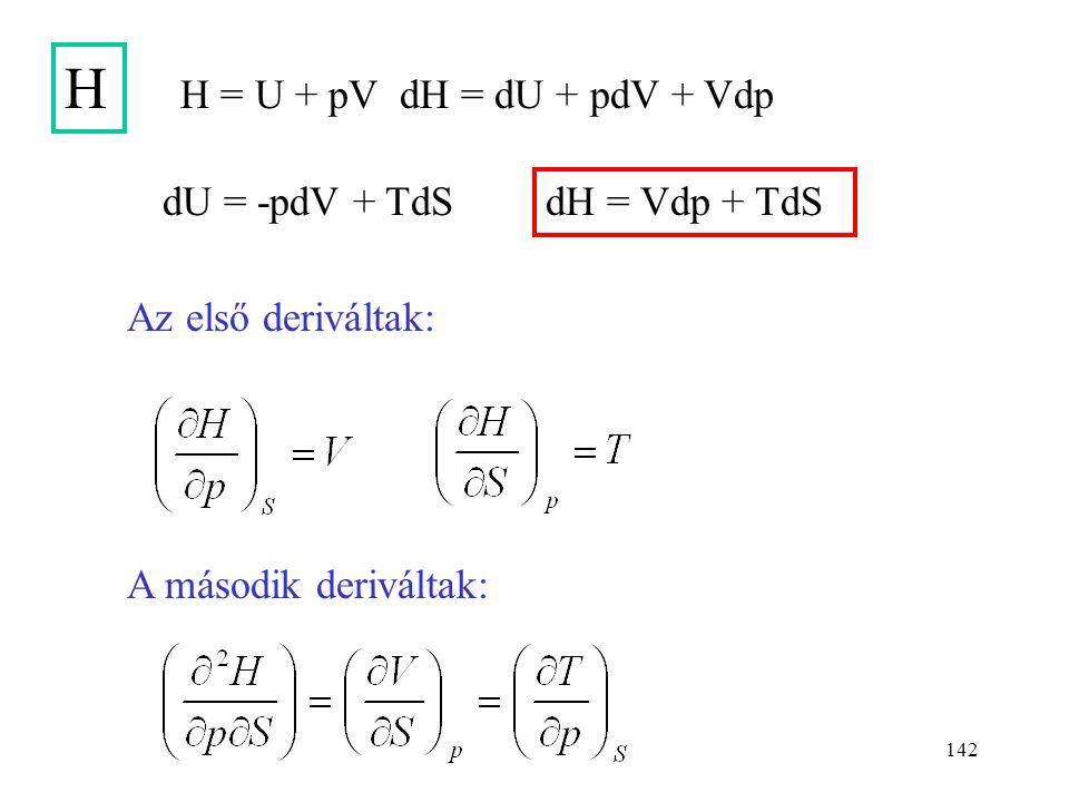 H H = U + pV dH = dU + pdV + Vdp dU = -pdV + TdS dH = Vdp + TdS