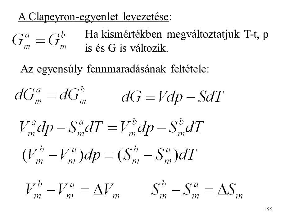 A Clapeyron-egyenlet levezetése: