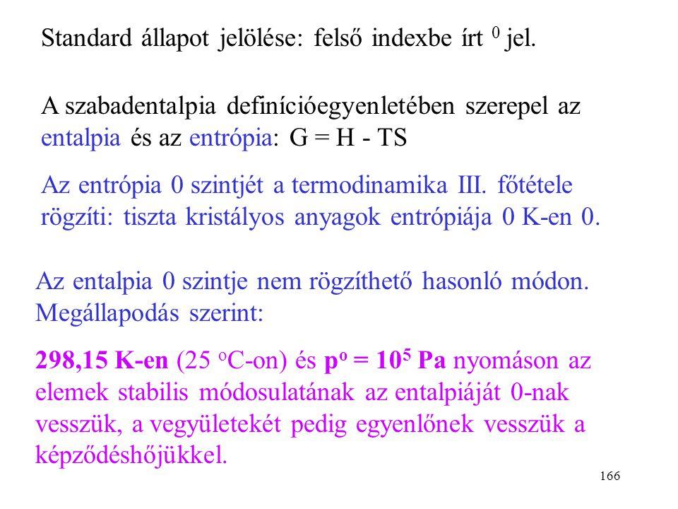 Standard állapot jelölése: felső indexbe írt 0 jel.