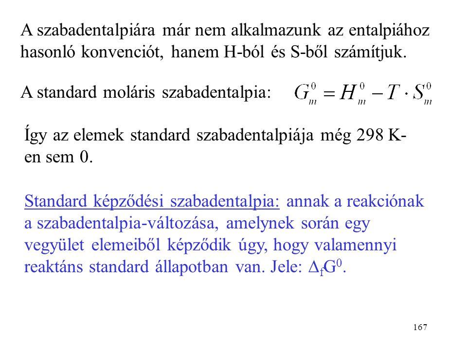 A szabadentalpiára már nem alkalmazunk az entalpiához hasonló konvenciót, hanem H-ból és S-ből számítjuk.