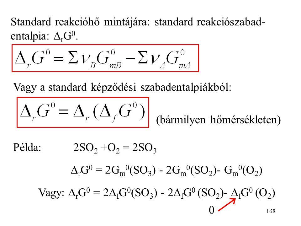 Standard reakcióhő mintájára: standard reakciószabad-entalpia: DrG0.