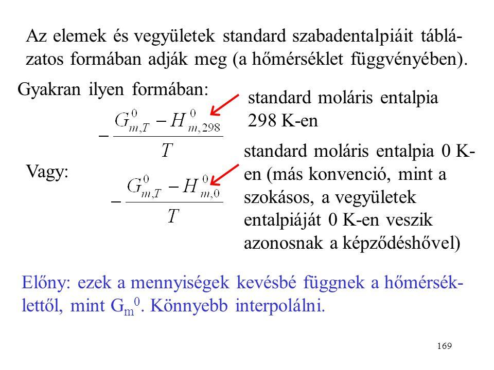 Az elemek és vegyületek standard szabadentalpiáit táblá-zatos formában adják meg (a hőmérséklet függvényében).