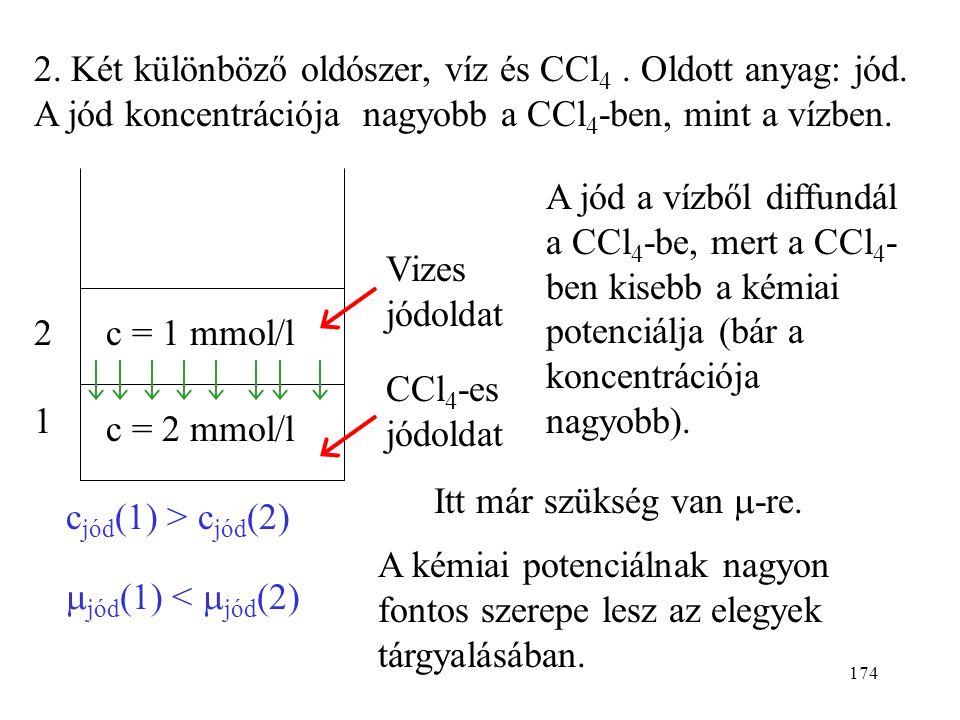 2. Két különböző oldószer, víz és CCl4. Oldott anyag: jód