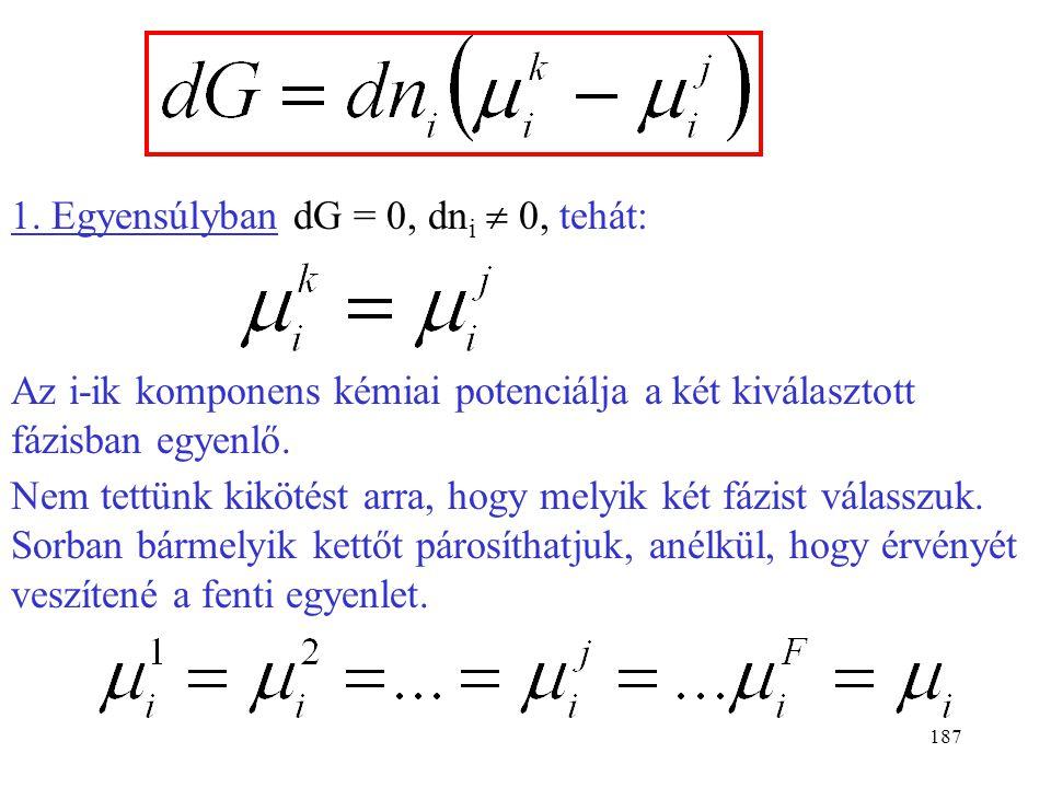 1. Egyensúlyban dG = 0, dni  0, tehát: