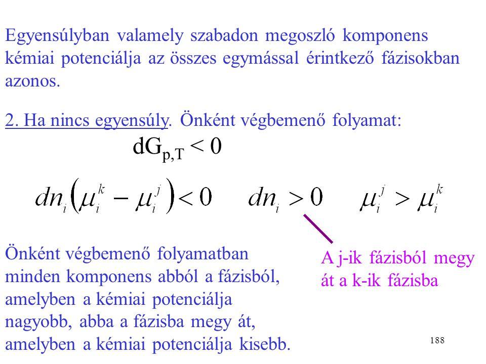 Egyensúlyban valamely szabadon megoszló komponens kémiai potenciálja az összes egymással érintkező fázisokban azonos.
