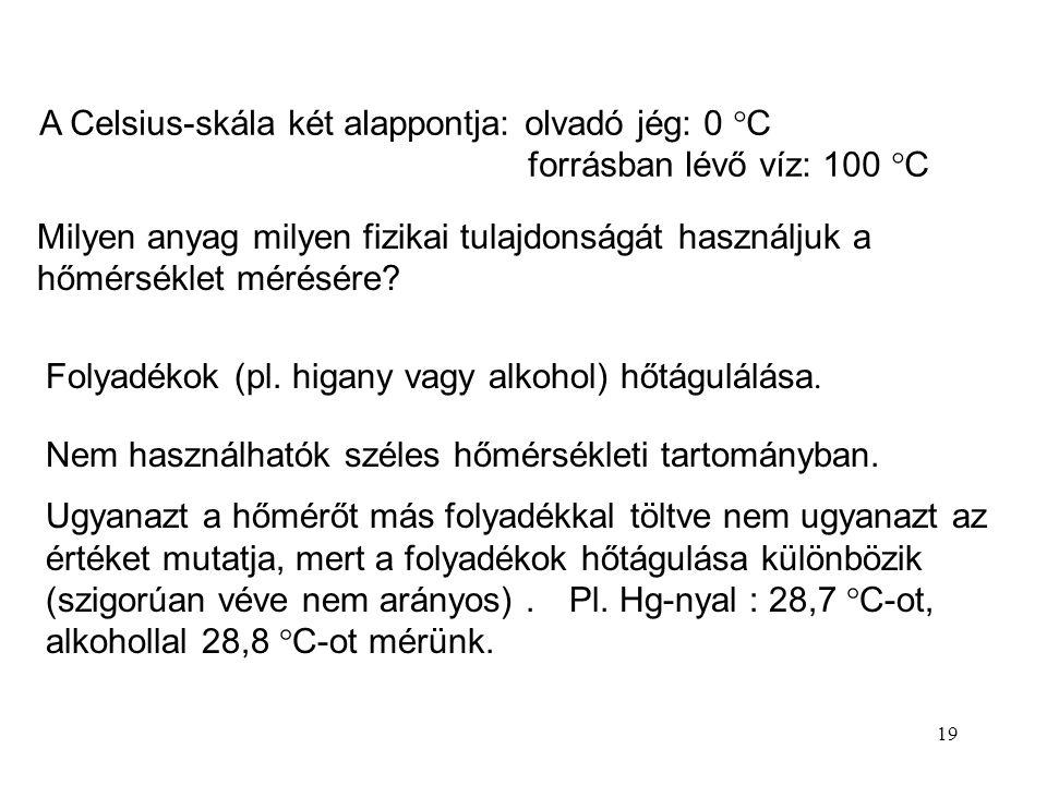 A Celsius-skála két alappontja: olvadó jég: 0 C