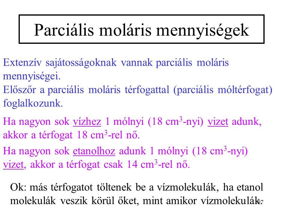 Parciális moláris mennyiségek