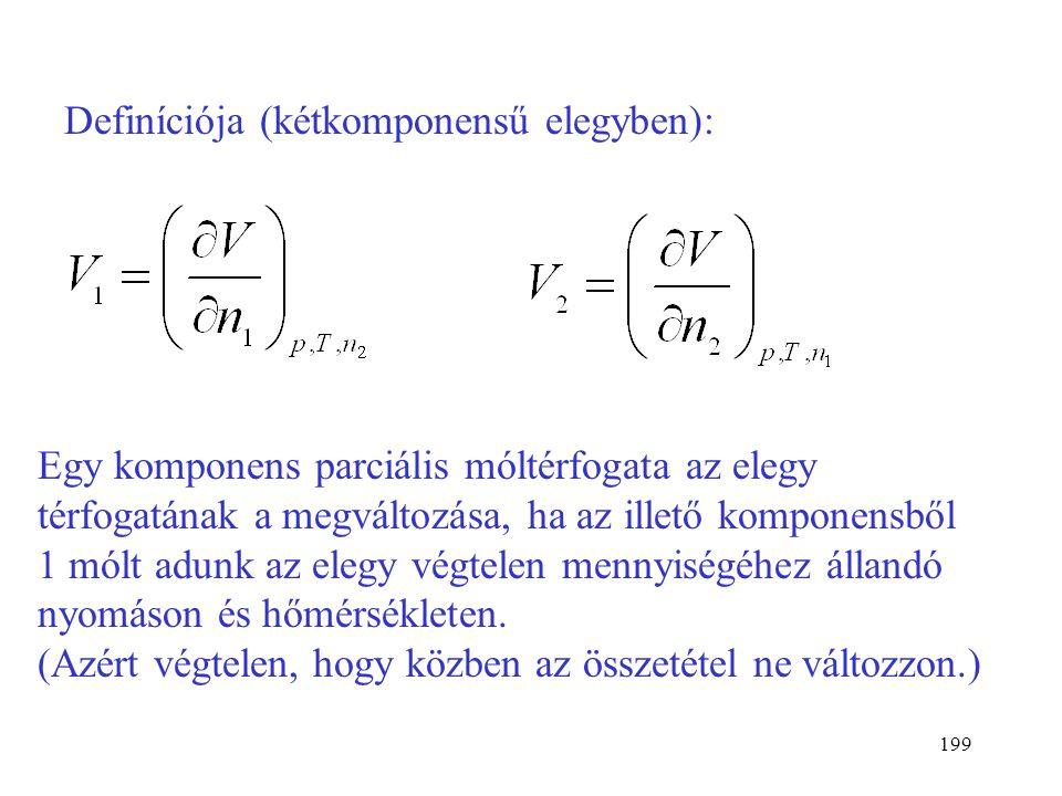 Definíciója (kétkomponensű elegyben):