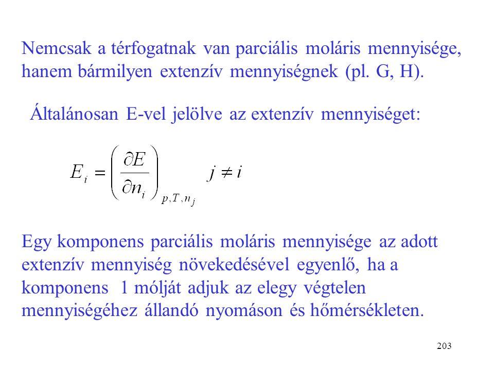 Nemcsak a térfogatnak van parciális moláris mennyisége, hanem bármilyen extenzív mennyiségnek (pl. G, H).