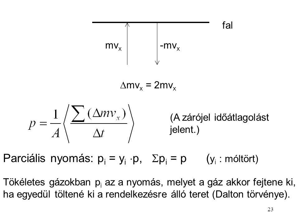 Parciális nyomás: pi = yi p, pi = p (yi : móltört)