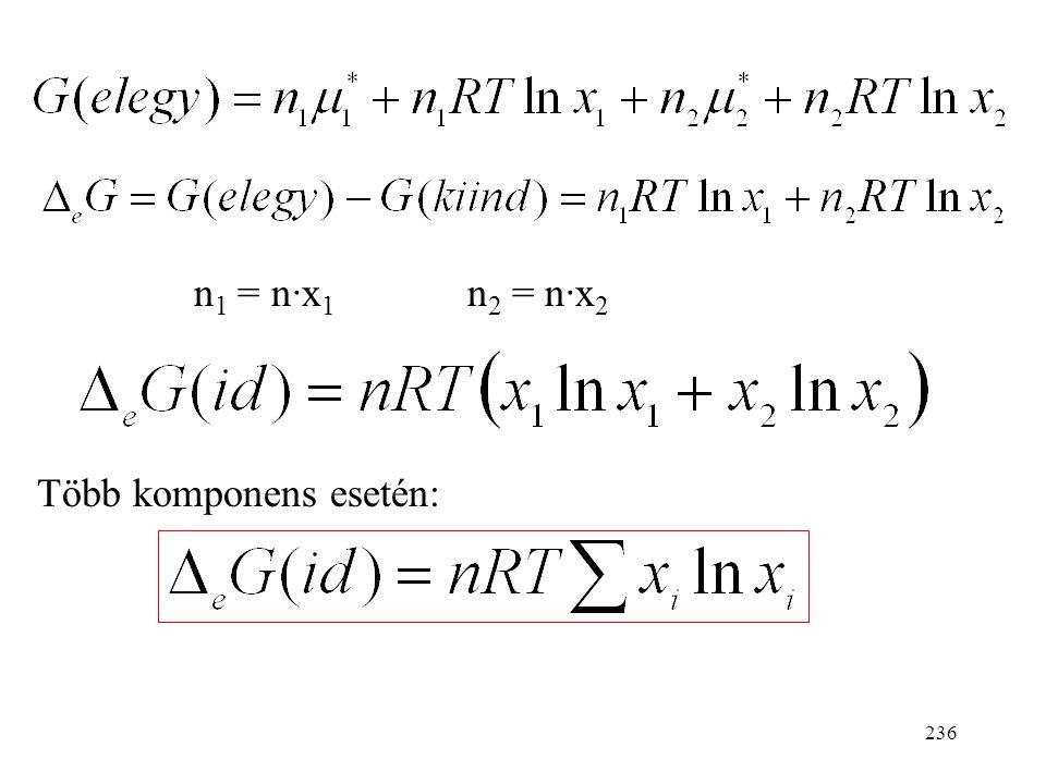 n1 = n·x1 n2 = n·x2 Több komponens esetén: