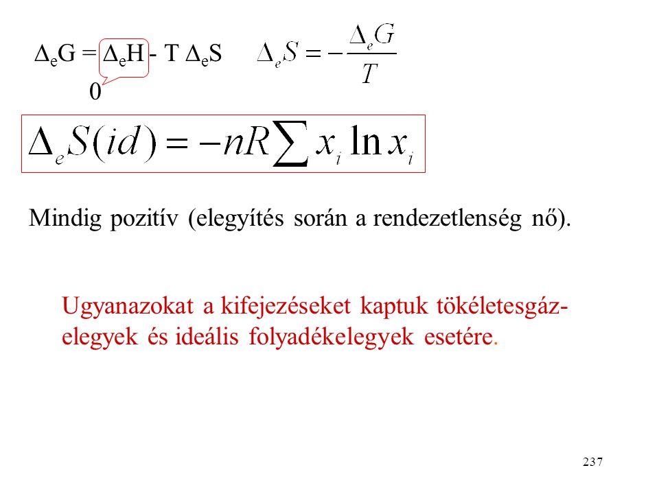 DeG = DeH - T DeS Mindig pozitív (elegyítés során a rendezetlenség nő).