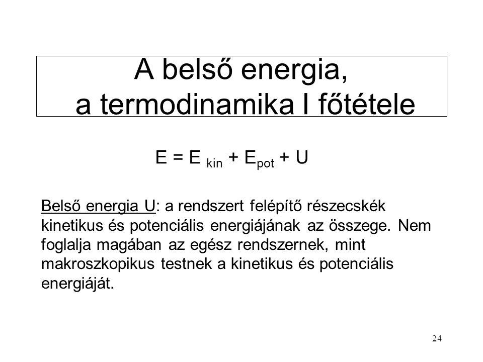 A belső energia, a termodinamika I főtétele