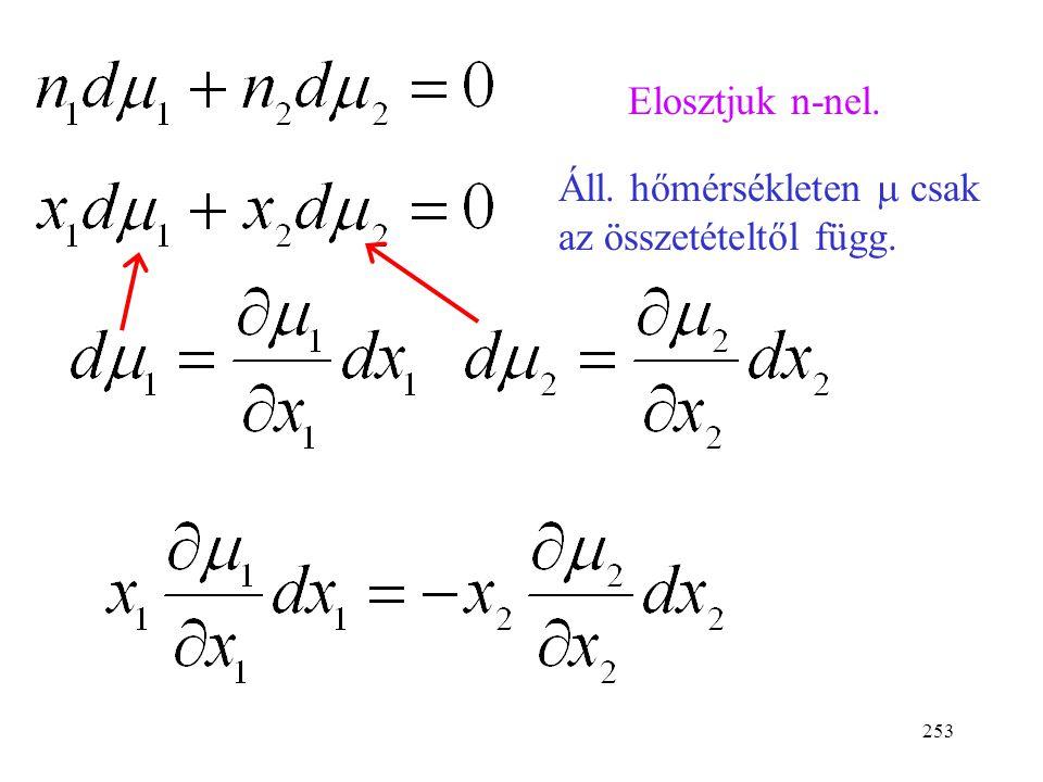 Elosztjuk n-nel. Áll. hőmérsékleten m csak az összetételtől függ.