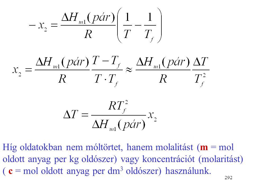 Híg oldatokban nem móltörtet, hanem molalitást (m = mol oldott anyag per kg oldószer) vagy koncentrációt (molaritást) ( c = mol oldott anyag per dm3 oldószer) használunk.