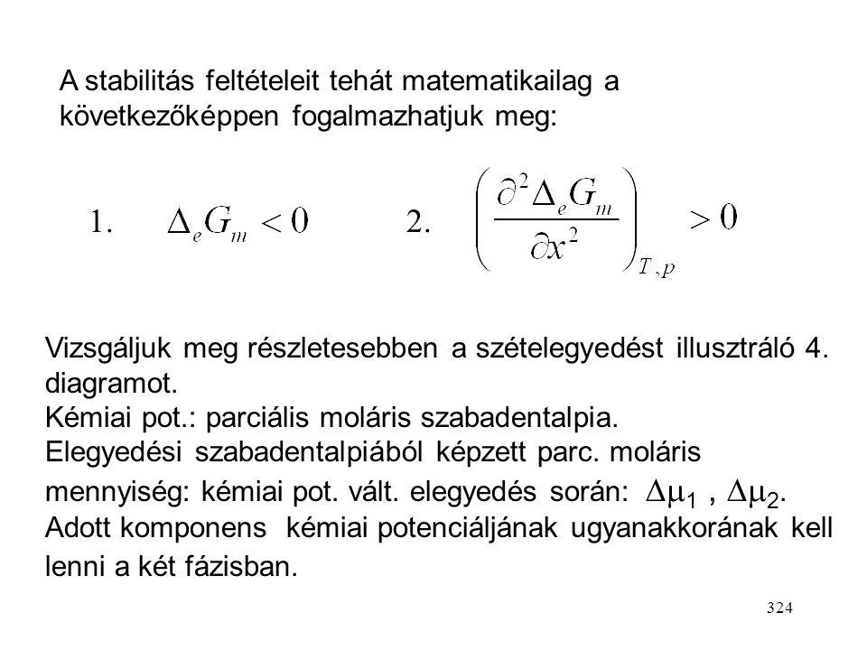 A stabilitás feltételeit tehát matematikailag a következőképpen fogalmazhatjuk meg:
