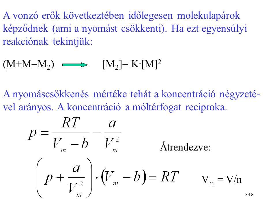 A vonzó erők következtében időlegesen molekulapárok képződnek (ami a nyomást csökkenti). Ha ezt egyensúlyi reakciónak tekintjük: