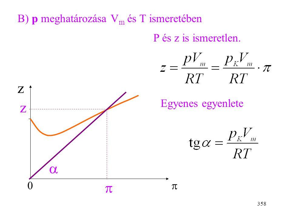 z z a p B) p meghatározása Vm és T ismeretében P és z is ismeretlen.