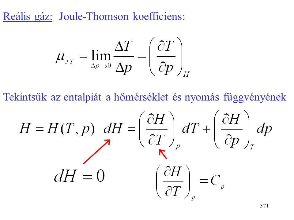 Reális gáz: Joule-Thomson koefficiens: