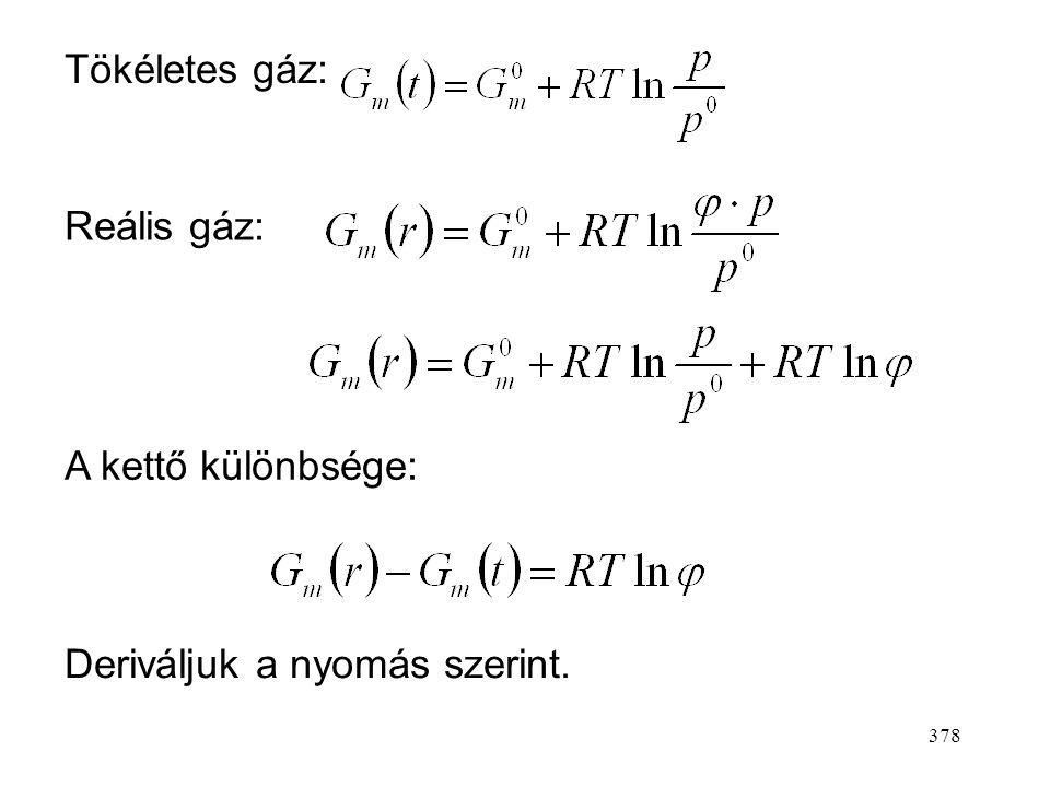 Tökéletes gáz: Reális gáz: A kettő különbsége: Deriváljuk a nyomás szerint.