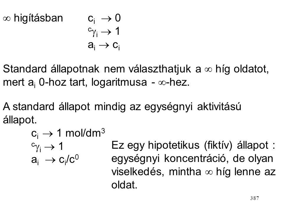  higításban ci  0 ci  1. ai  ci. Standard állapotnak nem választhatjuk a  híg oldatot, mert ai 0-hoz tart, logaritmusa - -hez.