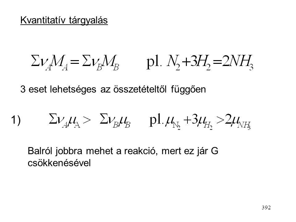 1) Kvantitatív tárgyalás 3 eset lehetséges az összetételtől függően