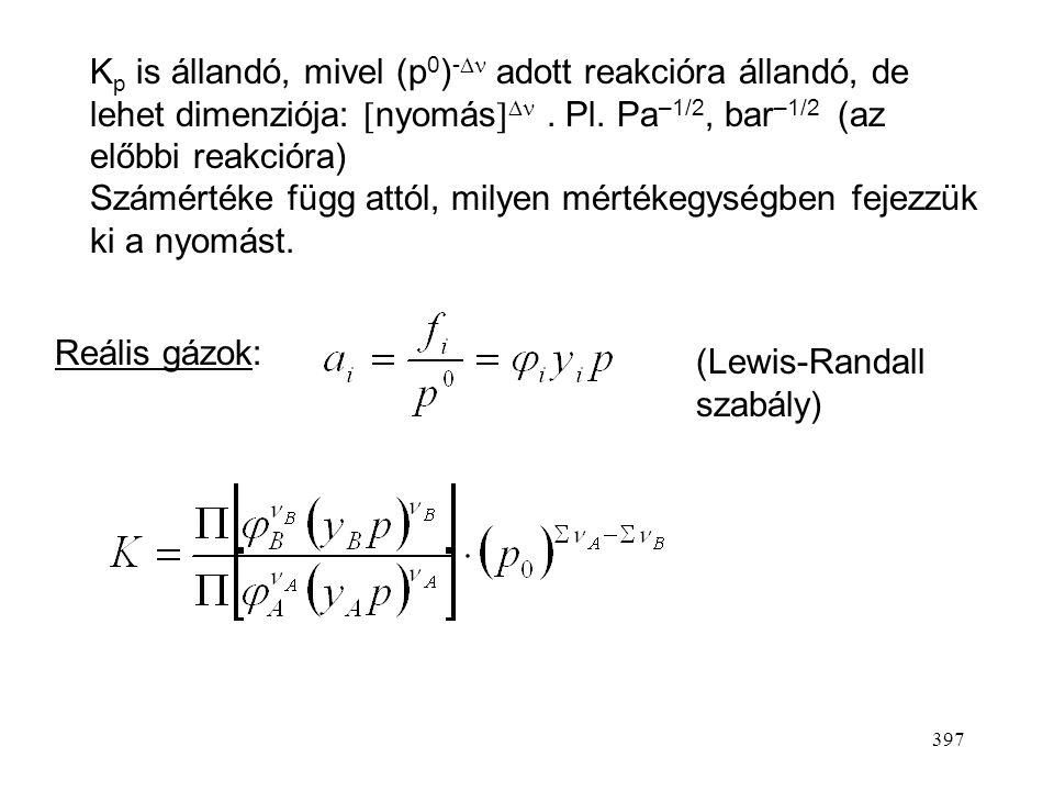 Kp is állandó, mivel (p0)- adott reakcióra állandó, de lehet dimenziója: nyomás . Pl. Pa–1/2, bar–1/2 (az előbbi reakcióra)
